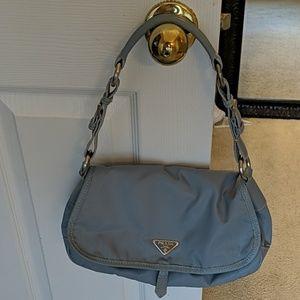 Authentic Prada Blue Nylon & Leather Trim Handbag